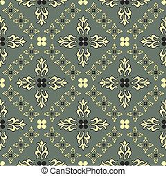 decorativo, (vector), vindima, cinzento, seamless, padrão