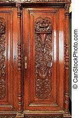 decorativo, velho-tempo, desenho, armário