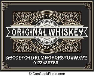 decorativo, vendemmia, carattere tipografico, whisky,...
