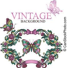 decorativo, vendemmia, cornice, floreale, farfalle