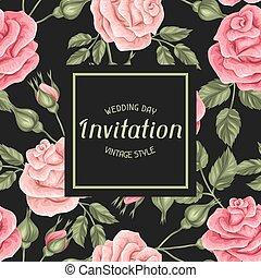 decorativo, vendemmia, roses., retro, invito, fiori, scheda
