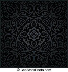 decorativo, vendemmia, seamless, sfondo nero, floreale, mandala
