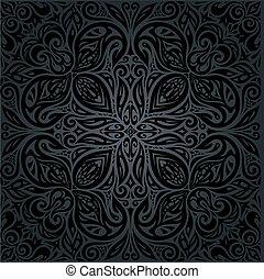 decorativo, vendemmia, sfondo nero, floreale, mandala