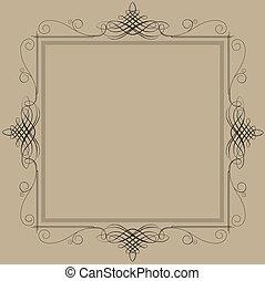 decorativo, vendimia, marco, negro