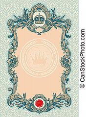 decorativo, vendimia, marco, vector, florido, grabado