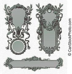 decorativo, vendimia, vector, florido, marcos, grabado
