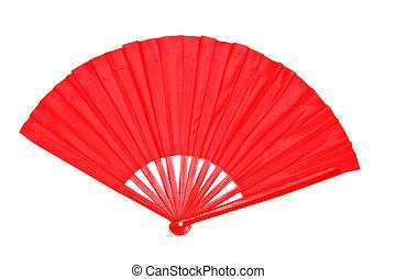 decorativo, ventilador papel, rojo, chino