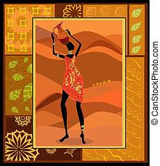 decorativo, vestido, menina, africano