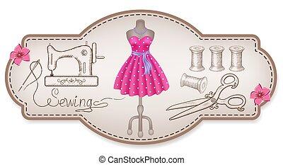 decorativo, vestire, cornice, cucito, mano, officina,...