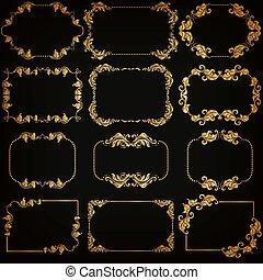 decorativo, vetorial, jogo, ouro, quadro, fronteiras