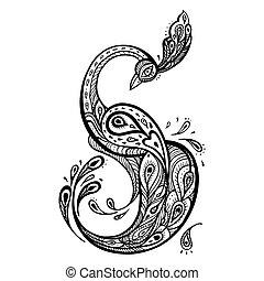 decorativo, vetorial, peacock., illustration.