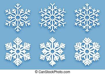 decorativo, vettore, fiocchi neve, papercut, 3d