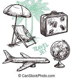 decorativo, viaggiare, set, schizzo, icona