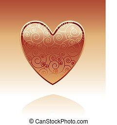 decorativo, vidro, coração
