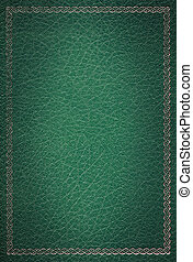 decorativo, viejo, oro, cuero, marco, textura, verde