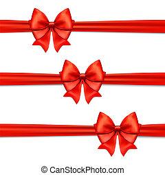 decorativo, white.red, decoração, jogo, presente, isolado, vetorial, arco, arcos, horizontais, fita vermelha