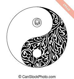 decorativo, yin-yang., simbolo, element., ornare