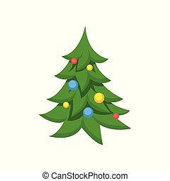 decorato, albero natale, cartone animato, vettore, illustrazione