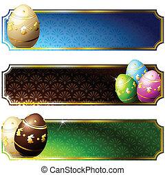 decorato, elegante, uova, bandiere