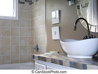Decorator bathroom sink - A decorator bathroom with white...