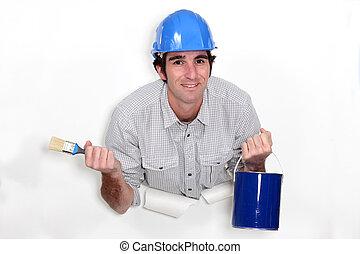 Decorator holding brush and tin
