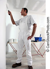 Decorator painting wall