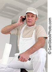 Decorator using a cellphone
