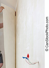 decoratore, ripara, carta da parati, su, parete, in, casa