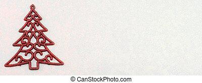 decorazione albero natale, su, sfondo rosso