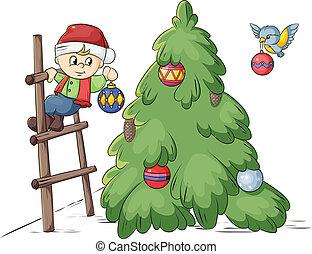 decorazione, albero, natale