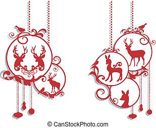 decorazione, cervo, natale