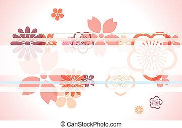 decorazione, ciliegia, backgrou, fiori