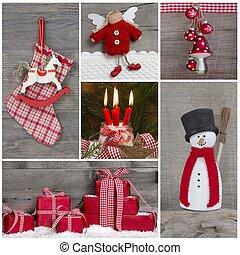 decorazione, classico, collage, snow., natale bianco, rosso
