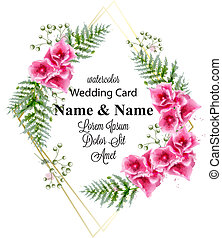 decorazione, cornice, augurio, acquarello, delicato, vector., illustrazioni, fiori, scheda