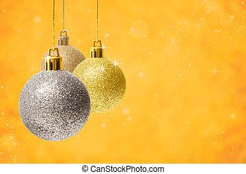 decorazione, dorato, natale, fondo