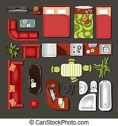 decorazione, elementi, casa, cima, vista interna, mobilia