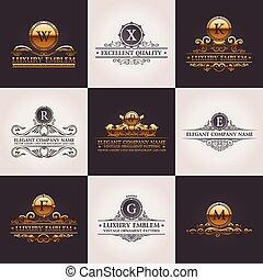 decorazione, elements., modello, set., ornamento, calligraphic, elegante, vettore, lusso, vendemmia, logotipo