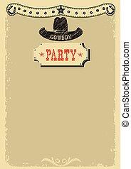 decorazione, festa, occidentale, fondo, cowboy