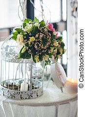 decorazione floreale, tavola., matrimonio