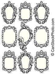 decorazione, frame., elements., arti, imperiale, encarved, vettore, disegno, ornamenti, specchio, barocco, ricco, linea
