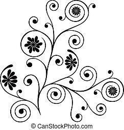 decorazione, illustrazione, vettore, rotolo, cartiglio