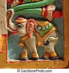 decorazione, intagliato, colorito, elefante