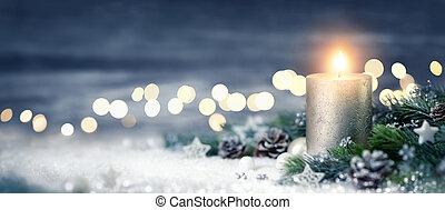 decorazione, luci, natale, candela