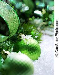 decorazione, natale, neve