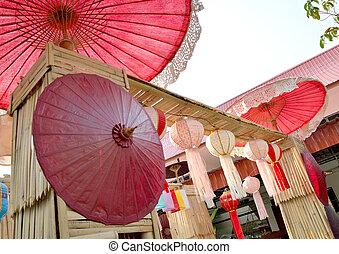 decorazione, ombrello, fatto mano