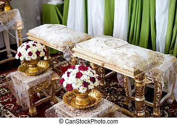 decorazione, primo piano, mazzolino, mano, tradizionale, colatura, matrimonio, tailandese