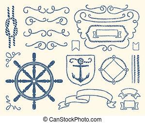 decorazione, set, nautico