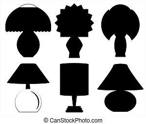 decorazione, silhouette, lampade