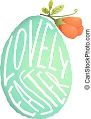 decorazione, stile, fiore, pasqua, acquarello, singolo, uovo