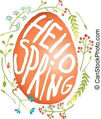 decorazione, stile, pasqua, acquarello, singolo, fiori, uovo